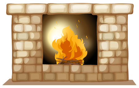Illustration of a fireplace on a white background Vector