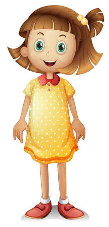 Illustration of a cute young girl wearing a yellow polka dress on a white background