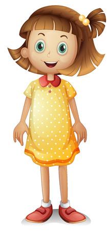 Ilustración de una linda chica joven con un vestido de lunares de color amarillo sobre un fondo blanco Ilustración de vector