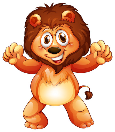 cartoon lion: Illustration of a playful young lion on a white background Illustration