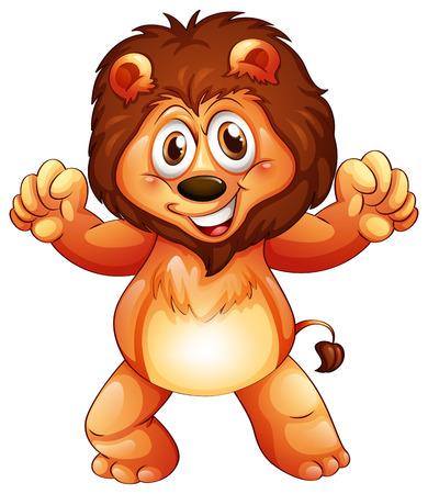 leon bebe: Ilustraci�n de un le�n joven juguet�n en un fondo blanco Vectores