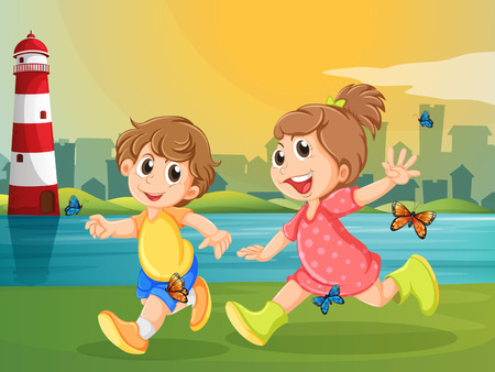 parola: Illustration of the two adorable kids running with butterflies