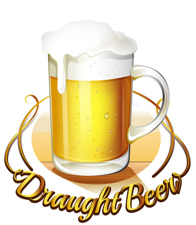 draught: Illustration of a draught beer label and a pitcher of cold beer on a white background