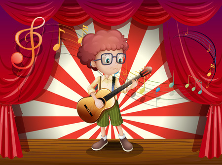 stageplay: Illustration of a young boy at the stage holding a guitar