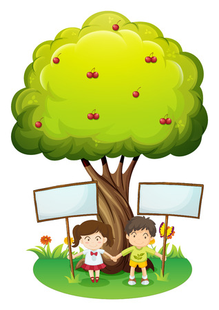 Illustration of the kids under the tree with empty signboards on a white background Vector