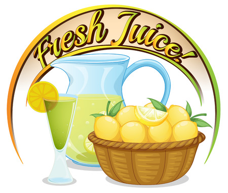 Illustration of a fresh juice label with a basket of oranges on a white background Vector