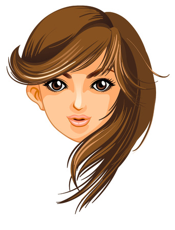 Illustration of a pretty face of a woman on a white background Vector