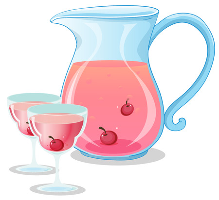 refreshed: Illustration of a cherry juice on a white background
