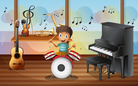 Illustration of a happy drummerboy inside the music room Vector