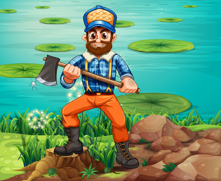Illustration of a lumberjack holding an axe at the riverbank