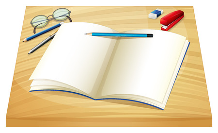 elongated: Illustration of an empty notebook above the wooden table on a white background Illustration