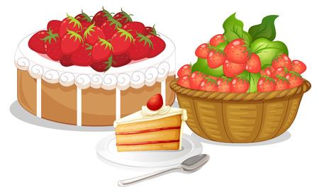Illustration of the sweet strawberries on a white background Vector