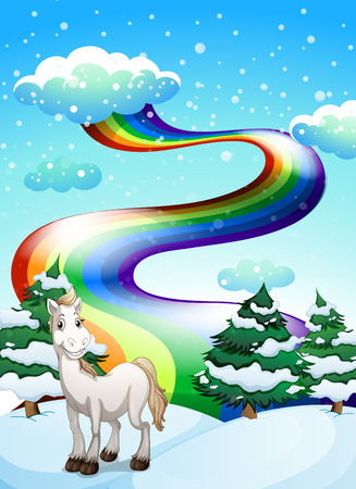 cartoon land: Illustration of a horse in a snowy area and a rainbow in the sky