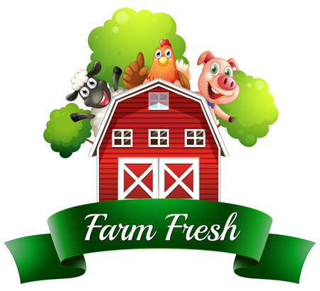 barnhouse: Illustration of a farm fresh label with a farmhouse and farm animals on a white background