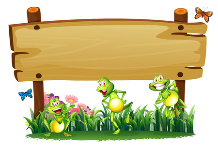Illustration of an empty wooden board at the garden with playful frogs on a white background Vector