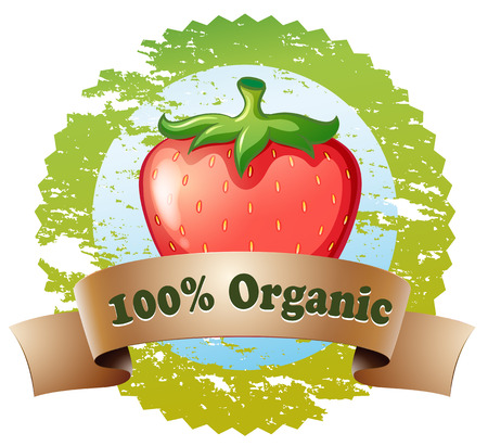 Illustration of an organic label with a strawberry on a white background Vector