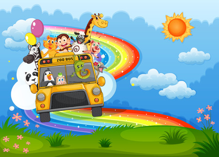 Illustration of a zoo bus at the hilltop with a rainbow in the sky