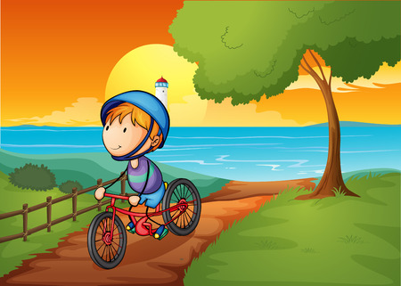 parola: Illustration of a young boy biking near the river