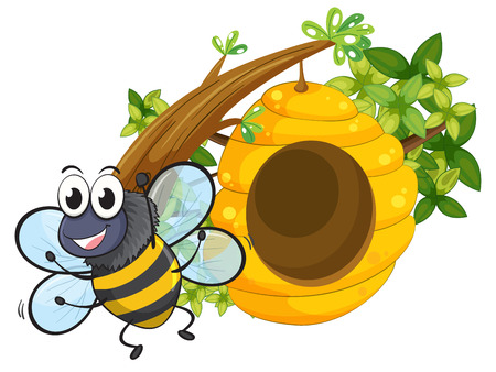 Illustration of a smiling bee near the big beehive on a white background Vector
