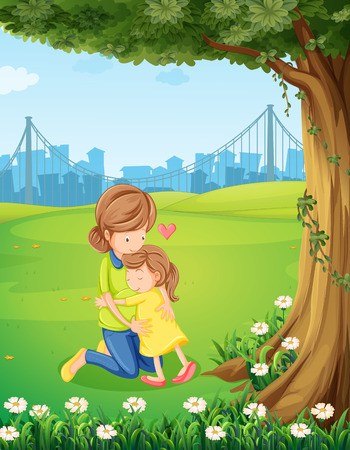 Illustration of a mother hugging her daughter under the tree Vector
