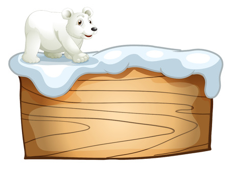 Illustration of a polar bear above the empty wooden signboard on a white background