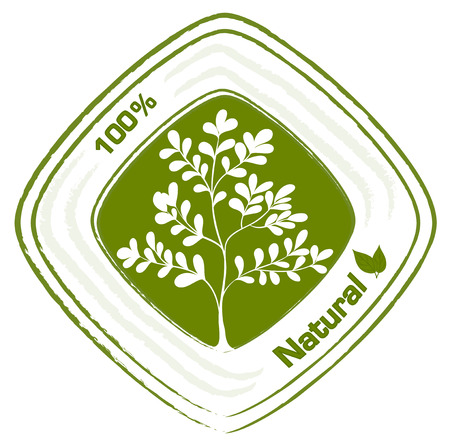 natural resources: Illustration of a natural label with plants on a white background Illustration