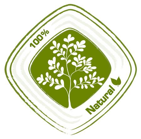 recursos naturales: Ilustración de un sello natural con plantas sobre un fondo blanco