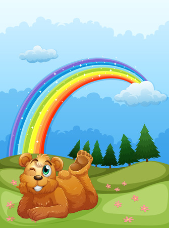 triangular eyes: Illustration of a bear at the hill with a rainbow in the sky Illustration