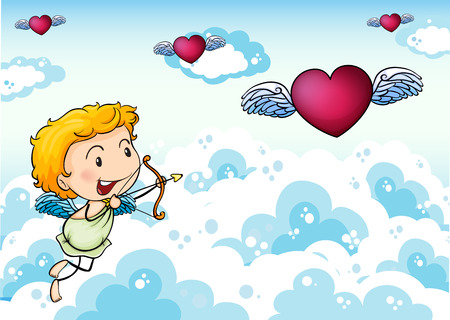 Illustration of a sky with an angel and heart's with wings Vector
