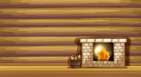 cartoon fireplace: Illustration of a fireplace near the wooden wall