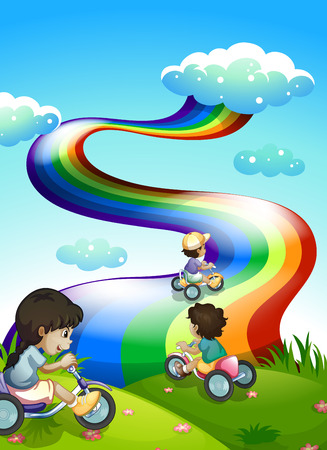 indigo: Illustration of the kids playing at the hilltop with a rainbow in the sky Illustration