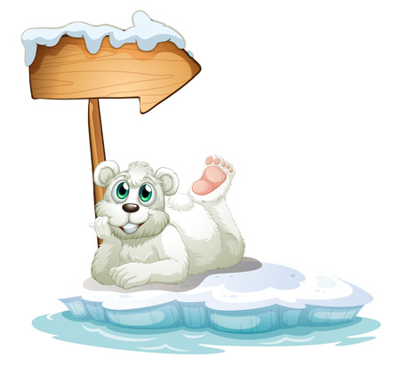 melting point: Illustration of a smiling polar bear under the wooden arrow on a white background Illustration