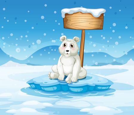 northpole: Illustration of a polar bear sitting under the empty wooden signboard Illustration