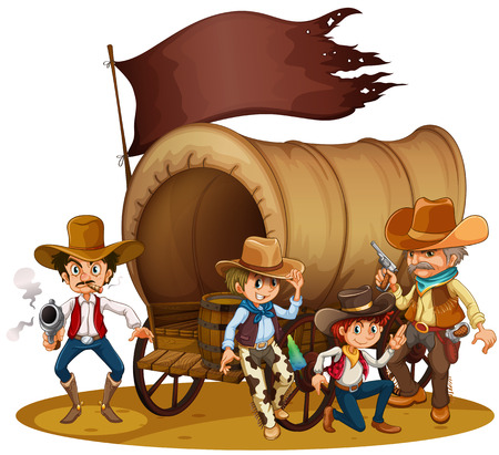 old west: Illustration of the people from the wild West on a white background