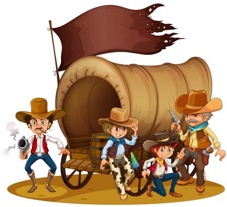 carreta madera: Ilustraci�n de la gente de la salvaje oeste sobre un fondo blanco