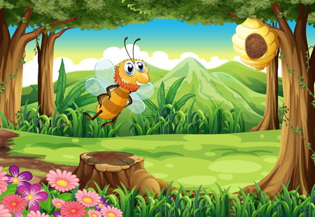 Illustration of a bee at the forest going to the beehive Vector