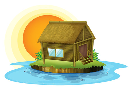 lake house: Illustration of a bamboo house in the island on a white background