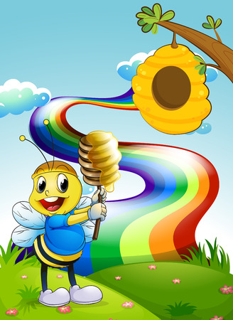 Illustration of a bee at the hilltop with a rainbow in the sky Vector