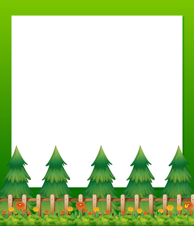 Illustration of an empty paper template with pine trees and a garden at the bottom Vector