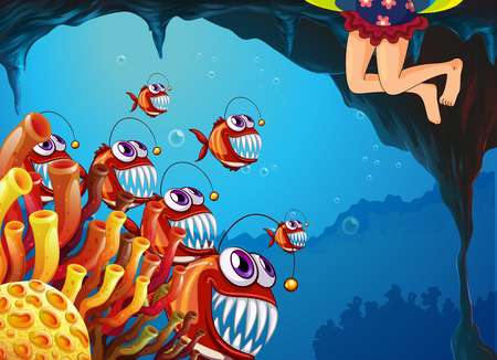 Illustration of a group of fish watching the young girl Vector