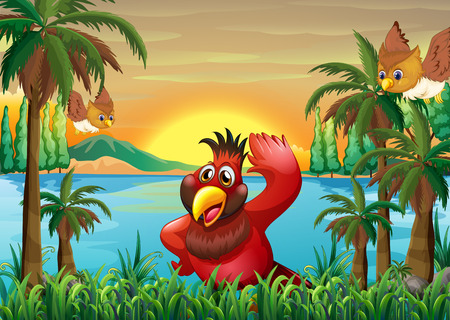 Illustration of the birds at the riverbank near the coconut trees Vector