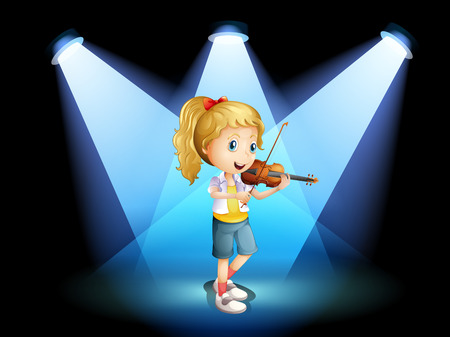 Illustration of a stage with a young girl playing with her violin