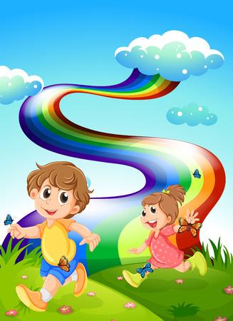 Illustratie van de kinderen lopen op de heuvel met een regenboog aan de hemel