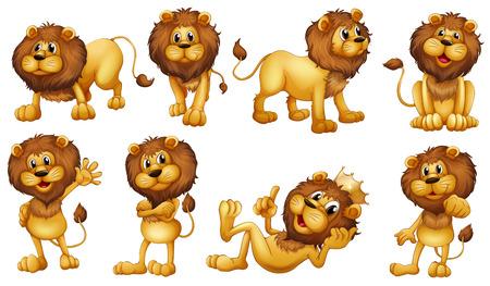 Иллюстрация храбрых львов на белом фоне