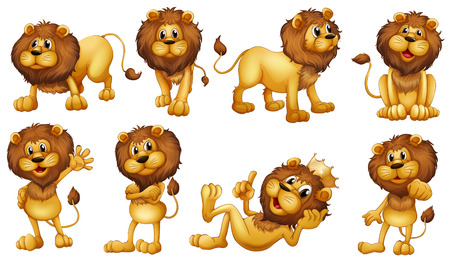 Ilustración de los leones valientes en un fondo blanco