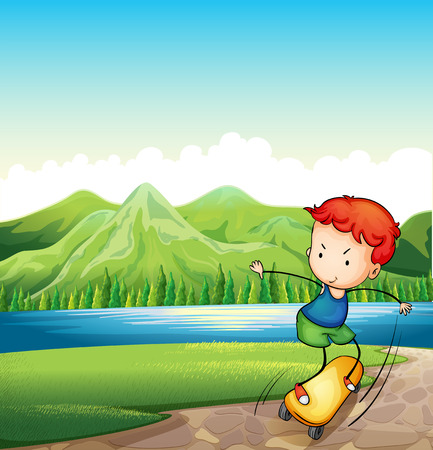 Illustration of a young man skateboarding at the riverbank