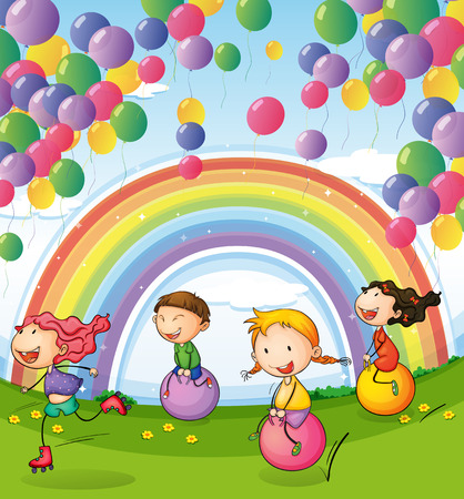 Illustration of the kids playing with floating balloons and rainbow in the sky Vector