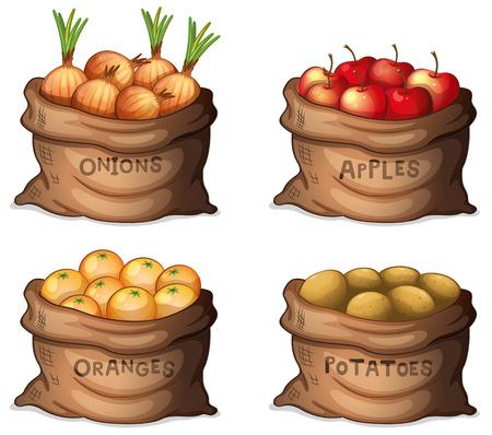 Ilustración de los sacos de frutos y cultivos sobre un fondo blanco