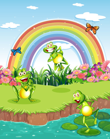 Illustration of the three playful frogs at the pond and a rainbow in the sky Vector