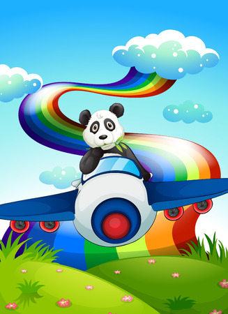 Illustration of a plane with a panda near the rainbow Vector